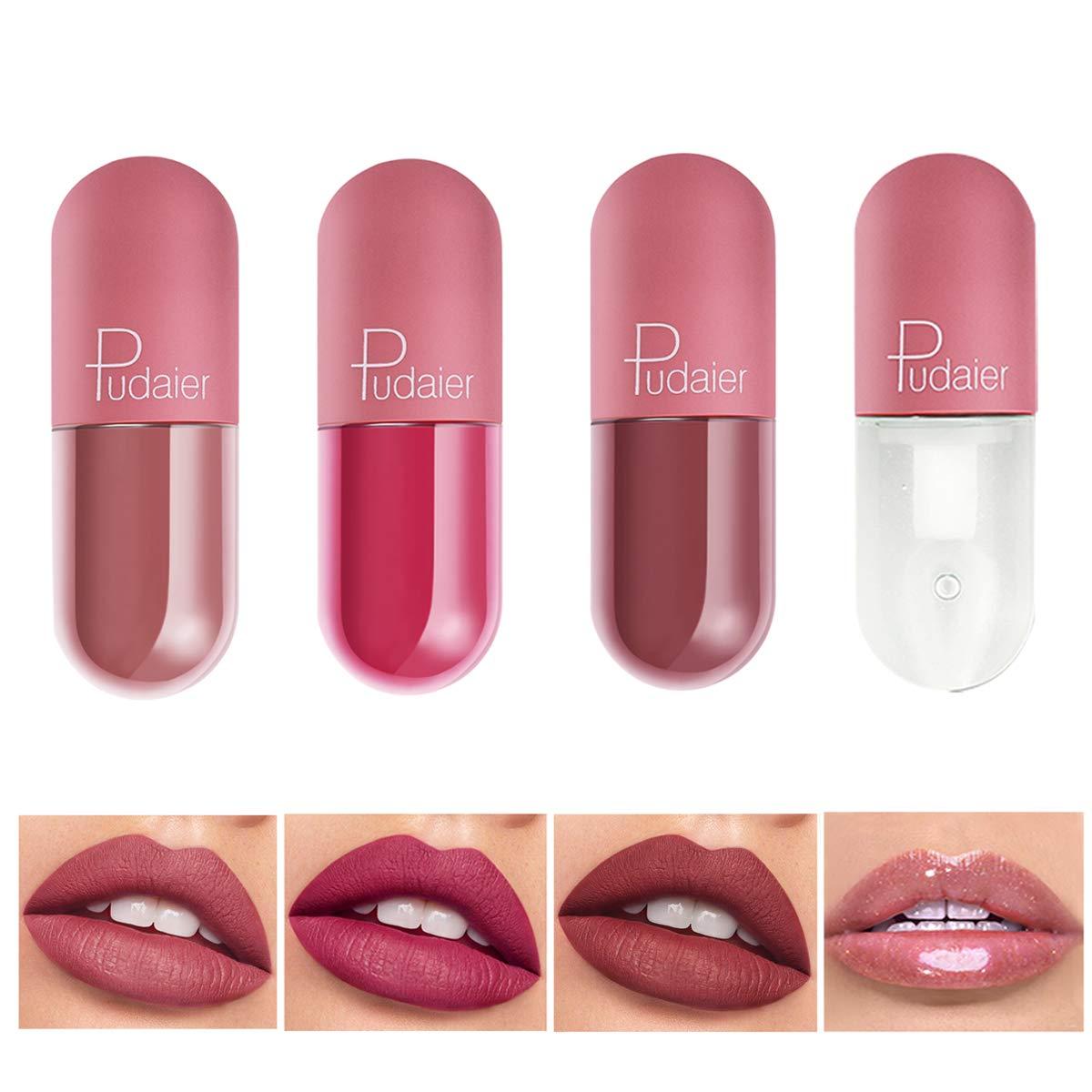 Capsule Matte Superstay Lipstick, COOSA 4 PCS Mini Nude Waterproof Long Lasting Liquid Lipsticks with Lip Plumper Gloss (SET02-4PCS)