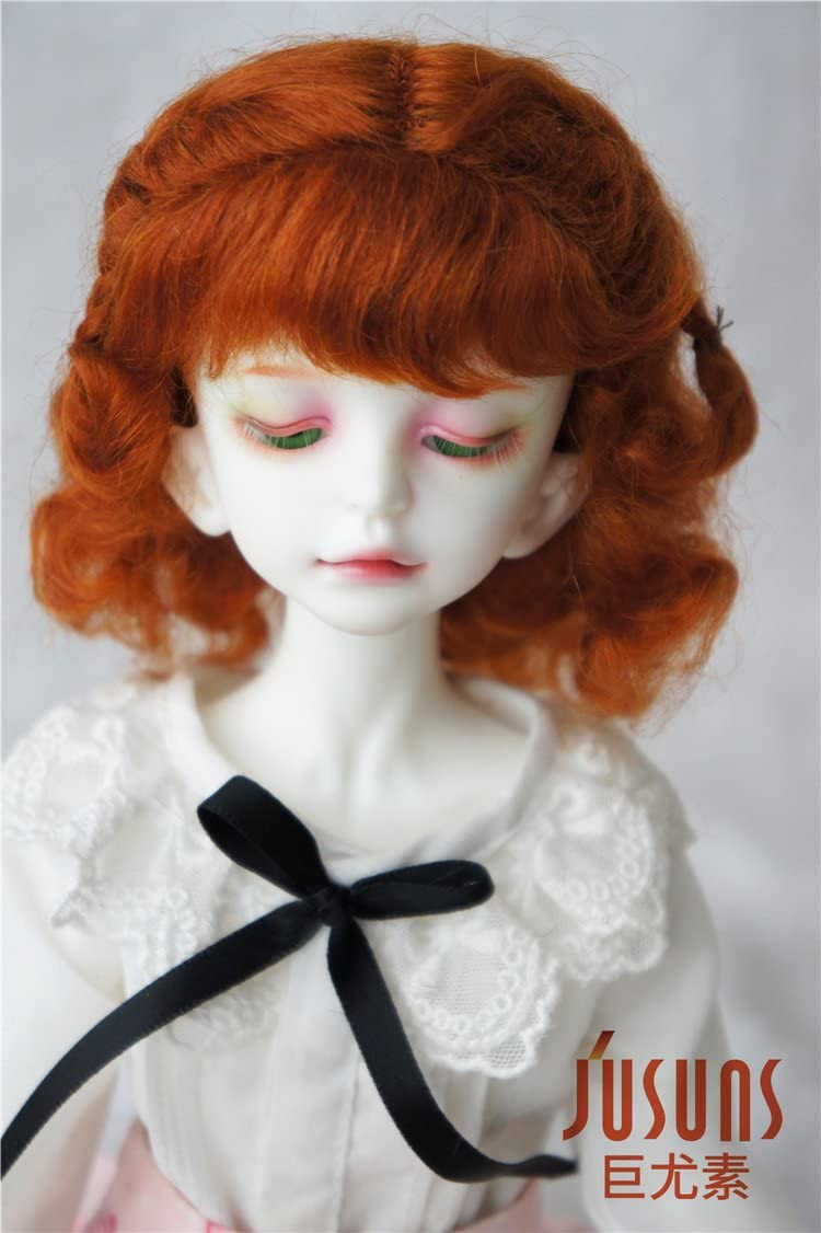 7-8inch Lovely Doll Hair 1//4 MSD Twin Braids Short Wavy Mohair BJD Wig 4 Colors
