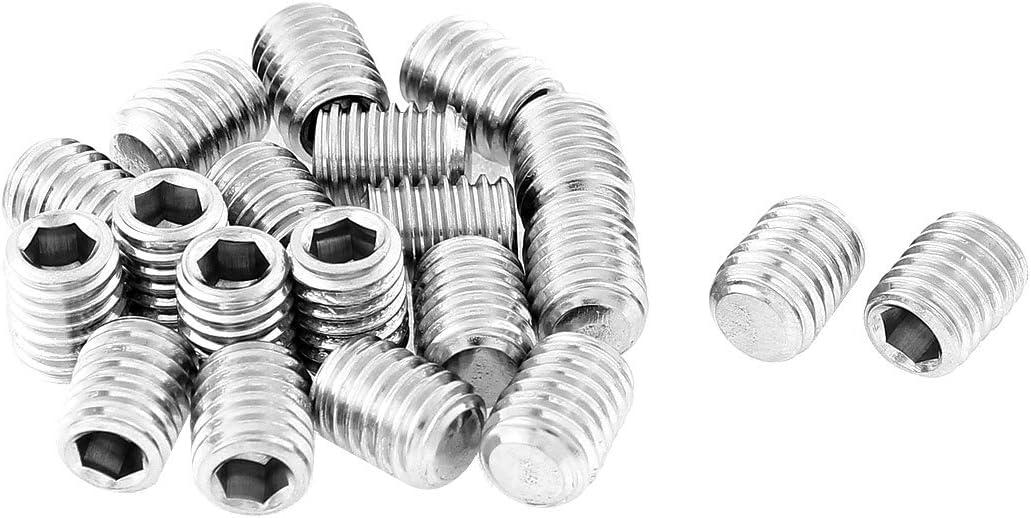 uxcell M8x10mm 1.25mm Pitch Hex Socket Set Flat Point Grub Screws 20pcs