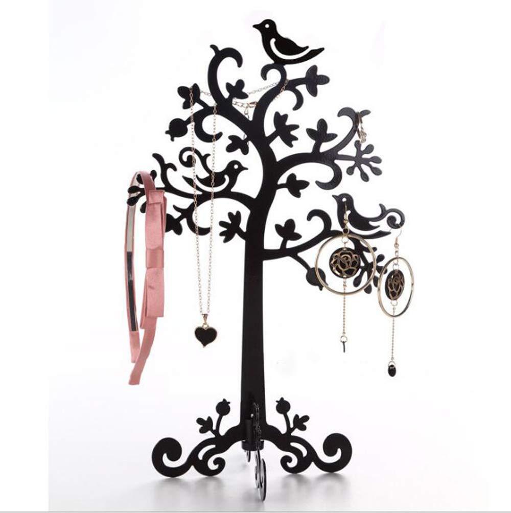 DYX Rack di stoccaggio a catena, orecchini retrò in ferro battuto orecchini albero di acacia gioielli gioielli albero uccello cremagliera FEIDOU