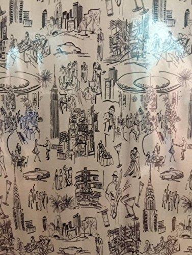 Mad hombres blanco y negro dibujos animados Sketch estilo Mid-Century Modern cortina de ducha