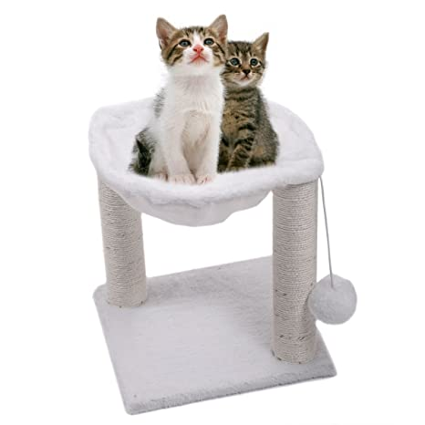 cat tree hammock scratch post house   bed furniture for play with toy white amazon     cat tree hammock scratch post house   bed furniture      rh   amazon