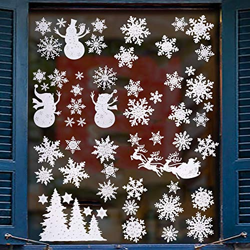( 57Pcs Christmas Window Clings Stickers Snowflakes Snowman Reindeer Xmas Trees Silver Dot Decor White Paper Glass Door Wall Decorations For Winter Holiday Festivals 4 Sheets)