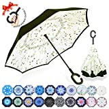 : ZOMAKE Double Layer Inverted Umbrella Cars Reverse Umbrella, UV Protection Windproof Large Straight Umbrella for Car Rain Outdoor With C-Shaped Handle(Small Plants)