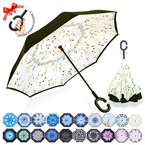 ZOMAKE Double Layer Inverted Umbrella Cars Reverse Umbrella, UV Protection Windproof Large Straight Umbrella for Car Rain Outdoor With C-Shaped Handle(Small Plants)