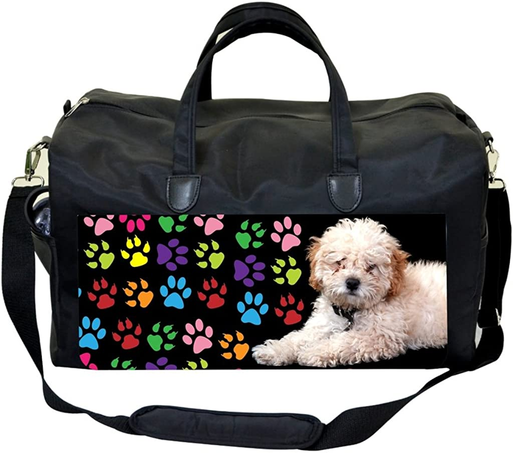Puppy with Colorful Pawprints Sports Bag