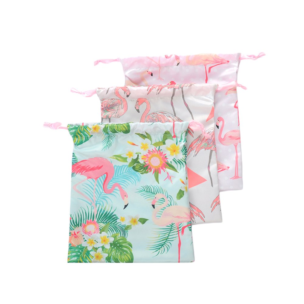 Colias Wing Adorable Flamingo Pattern Stylish Design Reusable Drawstring Gift Bags Holiday Theme Party Favor Treat Bags Travel Organizer(Set of 3)-Green/Pink