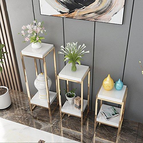 LongYu Flower Stand Simple Titanium Alloy Indoor Shelf Multi-Shelf Flowerpot Rack (Color : White, Size : 603330cm)