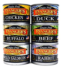 Evanger\'s Grain Free, All Natural Dog / Cat Food Variety Pack - 6 Flavors (Chicken, Beef, Buffalo, Rabbit, Duck, and Wild Salmon) 6-Ounce Each - 2 of Each Flavor (12 Total Cans)