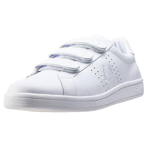 Fred Perry B721 3vel Stripe - Zapatillas de Piel para Hombre, Color Blanco, Talla 5 UK: Amazon.es: Zapatos y complementos