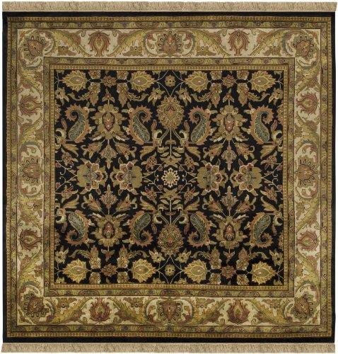 Surya Taj Mahal TJ-1047 Traditional Hand Knotted 100% Semi-Worsted New Zealand Wool Black 8' Square Persian Area Rug - Taj Mahal Olive Rug