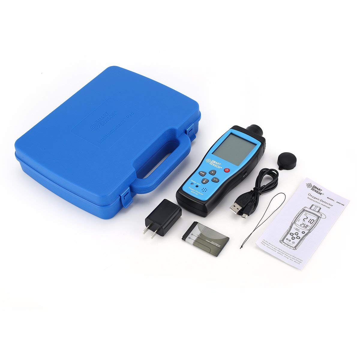 Smart Sensor AR8100 Air Quality Monitor Gas Meter O2 Oxygen Temp Detector Analyzer Handheld Tester Temperature Thermometer Crispsound
