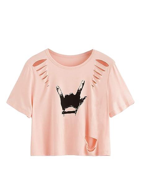 4973c167bd8 MAKEMECHIC Women's Love Gesture Print Crop Tops Casual Short Sleeve Tees  Pink XS