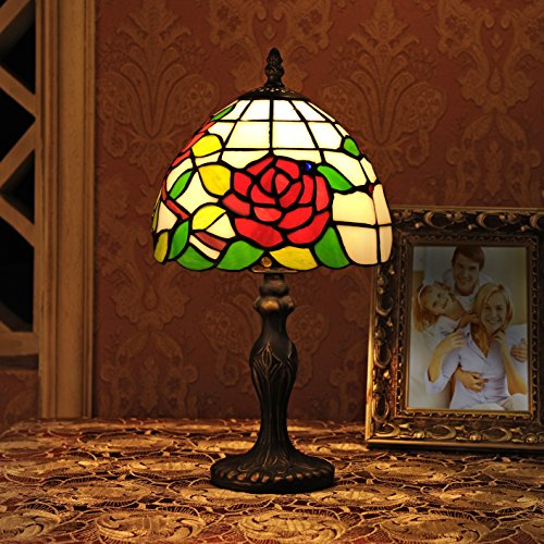 (Gweat Tiffany 8-Inch Pastoral Style Stained Glass Rose Series Table Lamp Bedroom Light Reading Light)