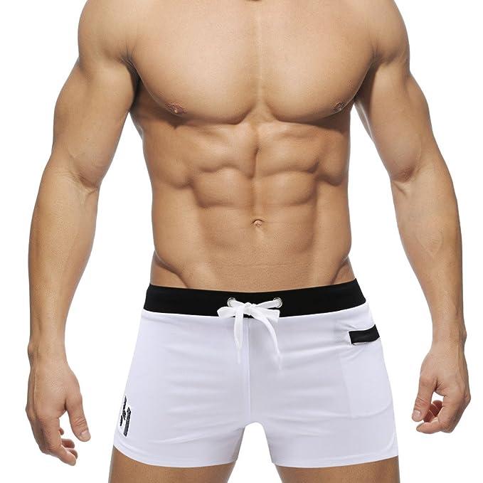 6dee7fca1867e5 Hibote Bademode Herren Schwimmshort Badehose Surf Wassersport kurze Hose  mit Tasche Weiß L