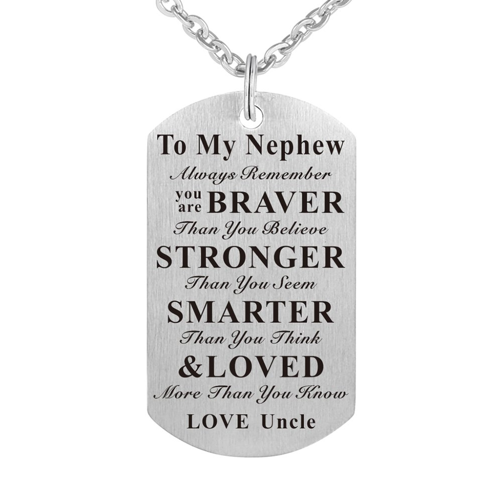 Kisseason To My Niece Nephew Birthday Gift Jewelry Dog Tag Keychain Pendant Necklace From Aunt Uncle