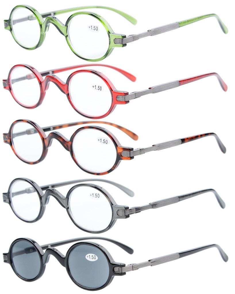 adfd3f19ac0 Amazon.com  5-pack Eyekepper Spring Temple Vintage Mini Small Oval Round  Reading Glasses include Sun Readers +1.5  Health   Personal Care