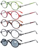 5-pack Eyekepper Spring Temple Vintage Mini Small Oval Round Reading Glasses include Sunshine Readers +0.5