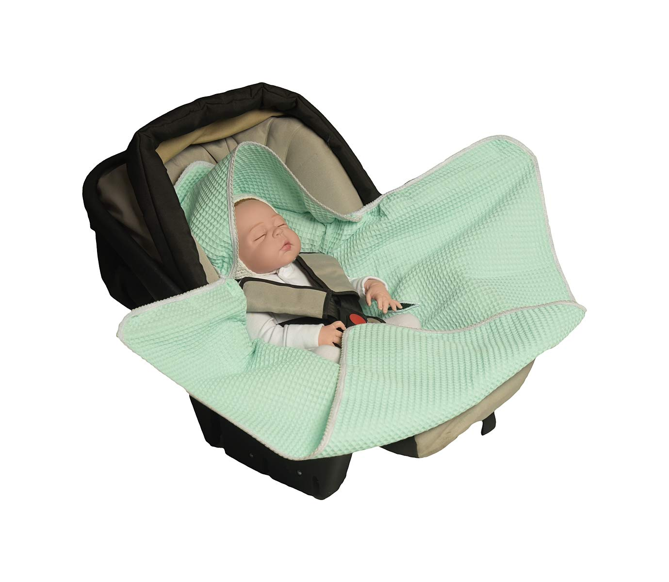 White Universal f/ür Babyschale Autositz aus Waffelpique Buggy oder Babybett MoMika Einschlagdecke f/ür Kinderwagen