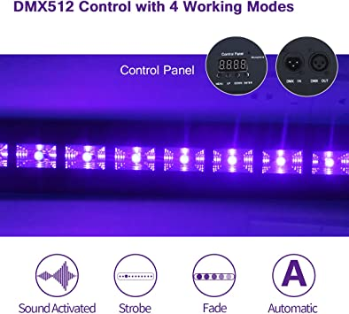 12leds blacklight with remote Poster Wedding Stage Lighting Exulight Black Lights UV LED Bar Halloween and Christmas Party 12LEDs x 3W Ultraviolet Light with Dimmable for Glow Parties Birthday
