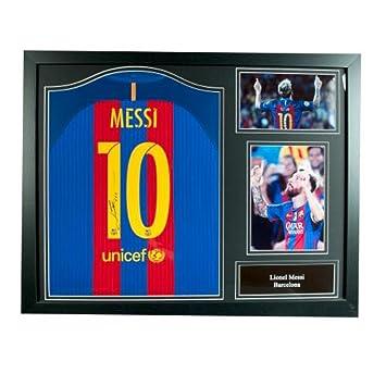 F.C. Camiseta firmada por Barcelona Messi (Enmarcado) Merchandise Oficial: Amazon.es: Deportes y aire libre