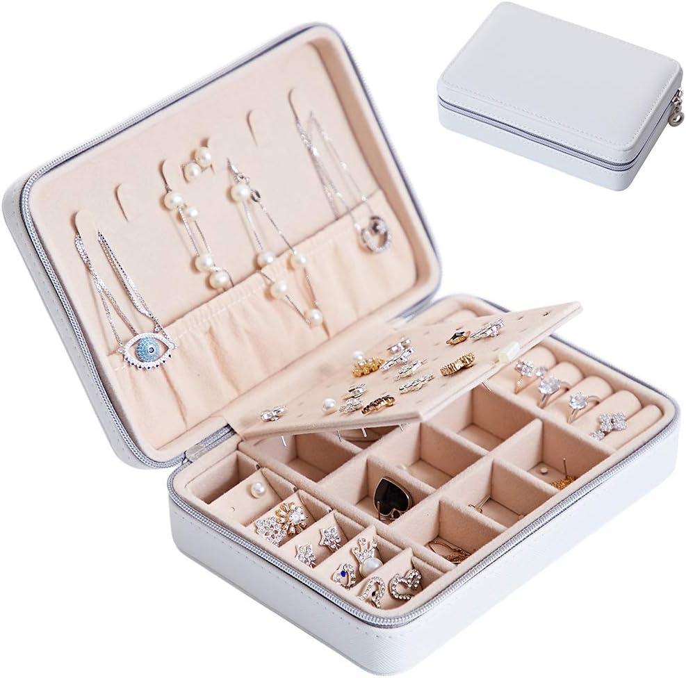 Portable Korean Jewelry Box Organizer Travels Faux leather Ring Bracelet Ea V9M2