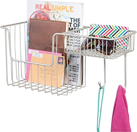 mDesign Metal Wire Wall Mount Entryway Storage Organizer Mail Basket Holder with 2 Hooks, 2 Compartments