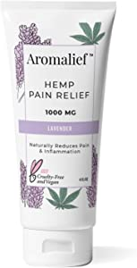 Aromalief Hemp Cream with Lavender Aromatherapy - 1000MG Made in USA - Relieve Stress, Muscle & Joint Pain- Menthol, Glucosamine, Chondroitin MSM - Vegan & Cruelty-Free