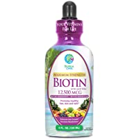 Maximum Strength Liquid Biotin Drops w/ 12,500 MCG- Best Vitamins for Fast Hair Growth, Reduced Hair Loss, Healthy Skin & Strong Nails -5X More Potent vs Pills- Max 98% Absorption- Vegan, Non-GMO- 4oz