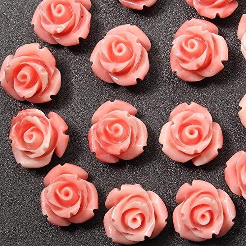FidgetFidget 10mm 15Pcs Pink Shell Carved Rose Flower Loose Beads Gemstone DIY Jewelry Craft