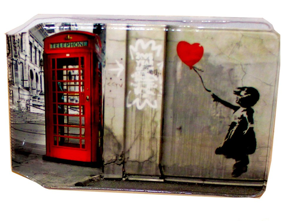 Banksy Telephone Box Slim line Bus Pass Wallet Credit Travel Rail Ticket Card Holder for Oyster Business ID Card (1x Banksy Telephone Box Wallet)