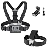 Chest Strap Mount Harness Chesty and Head Strap Mount with J-Hook for Gopro Hero 5 Black, Gopro Hero 5 Session, Gopro Hero Session, Gopro Hero 4, Gopro Hero 3, AKASO EK7000, AKASO EK5000, APEMAN A80, APEMAN A70
