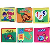 NUOLUX Baby Cloth Book Baby Intelligence Early Learning Educational Toys Book Baby Toy Gift Pack of 6