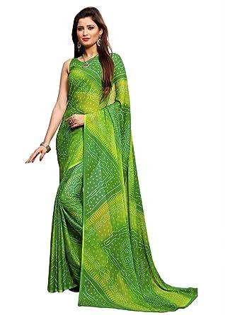 05ccb1f5a8 AASRI Women Chiffon Bandhani Printed Saree With Blouse Fabric, Bandhani  Sarees for women/Women's