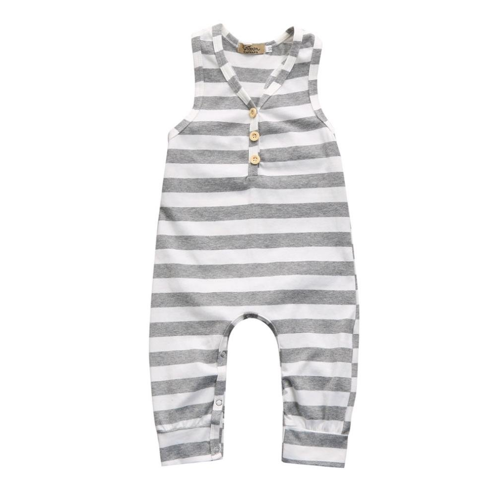 Lurryly 2018 Newborn Infant Baby Boys Girls Cute Sleeveless Striped Romper Jumpsuit Clothes Outfits 6-24M