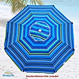8ft Premium Heavy Duty Fiberglass Beach Umbrella UPF 100+