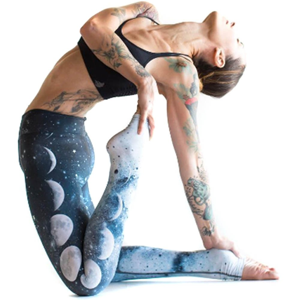 Rcool Pantaloni Yoga, Leggings Sportivi Donna Stampare Elastico Eleganti Sport Pilates Jogging Fitness Comfort Pantaloni Tuta Donna Blu S/M/L/XL