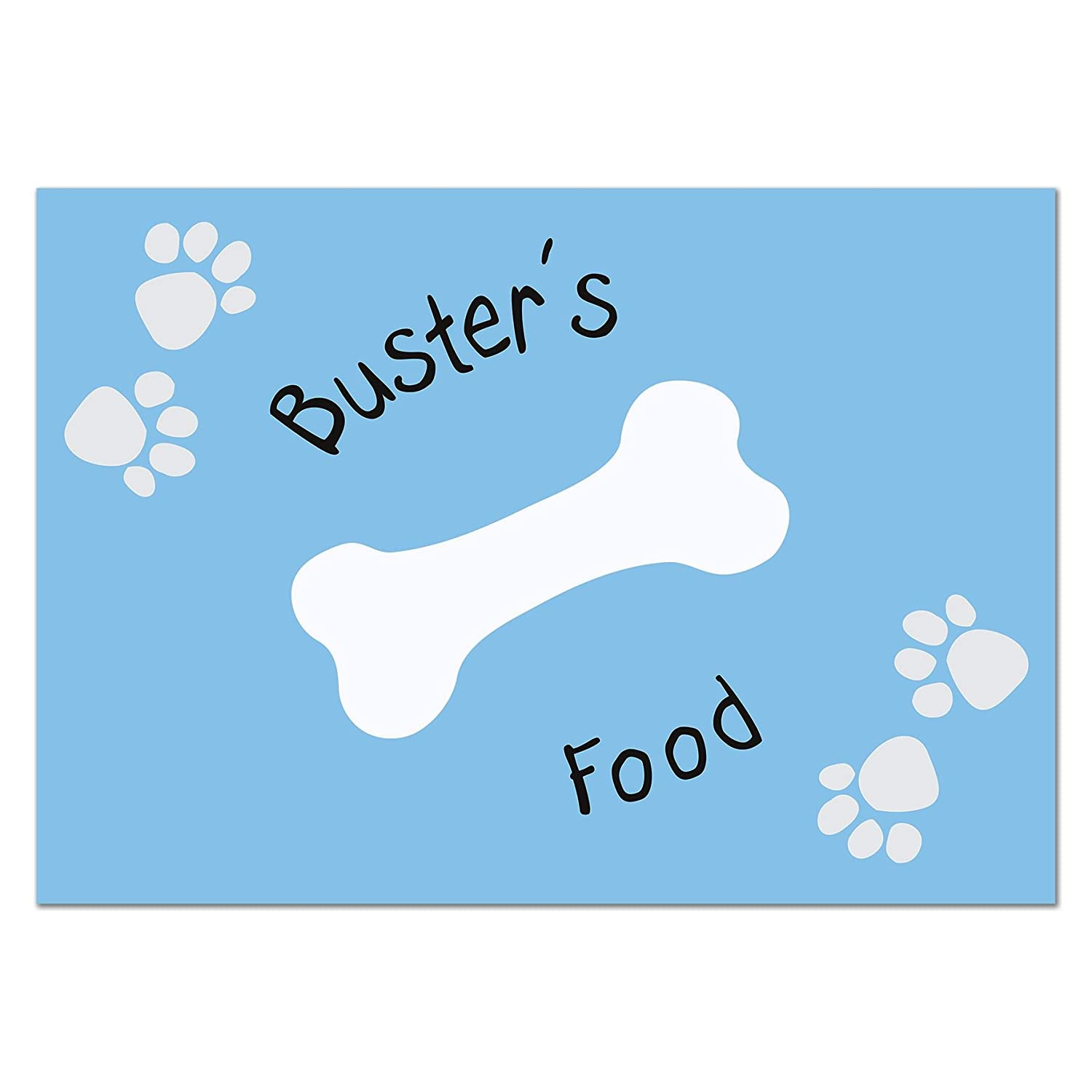 Blue Paw Print Dog Placemat Personalised for Pet Food Floor Mat Present Gift PMC