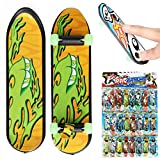 FUNTOK 24pcs Mini Skateboard Teach Deck Fingerboards Luminous Bearing Wheel