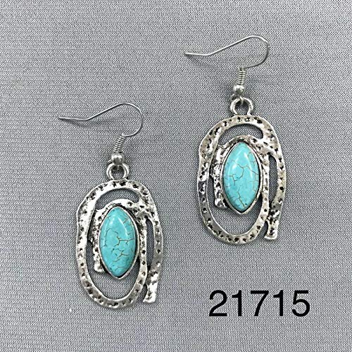 Oval Shape Hammered Silver Tone Finish Turquoise Stone Charm Dangle Earrings