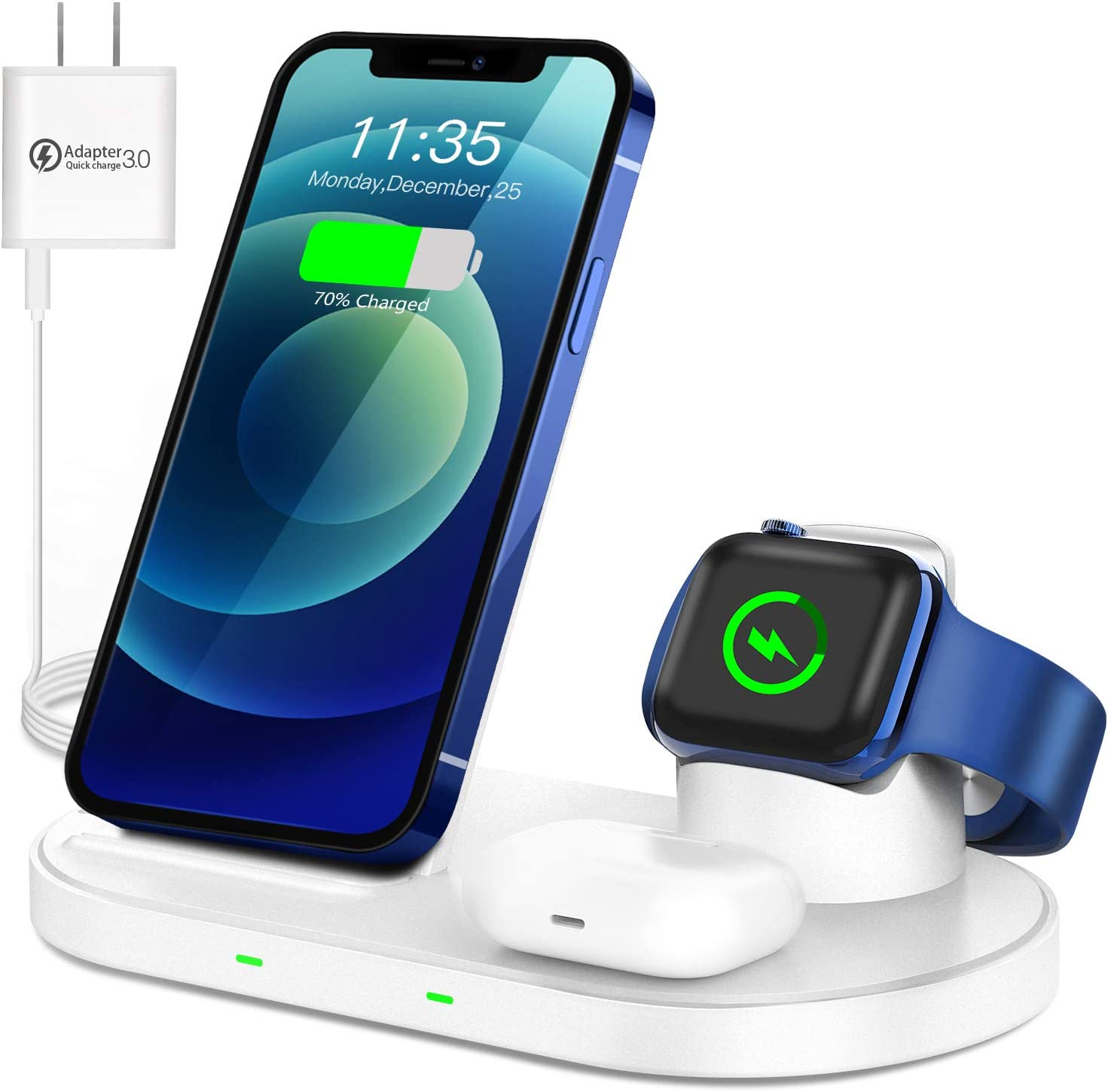 WAITIEE Wireless Charger 3 in 1 Stand for iPhone 12 and iWatch Series 6/5/4/3/2/1 AirPods pro, 15W Fast Charging Dock Accessories for iPhone 12/11/11 Pro/ 11 Pro Max/XS/XR/X/8/8 Plus QI Phone