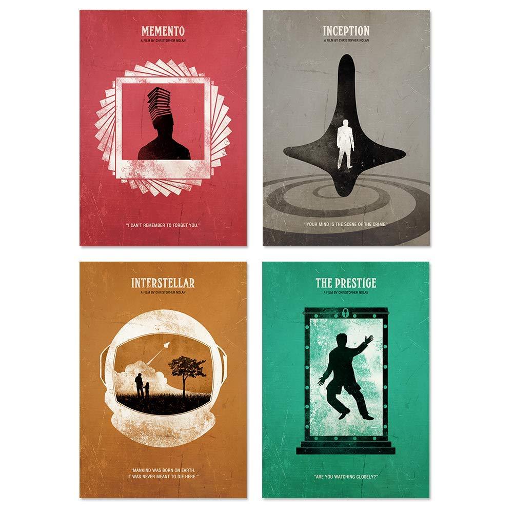 Inception, The Prestige, Memento, Interstellar Christopher Nolan Minimalist Movie Poster Set, Artwork Print, Unframed Print, Office Decor, Home Decor, Wall Hanging, Cafe Decor