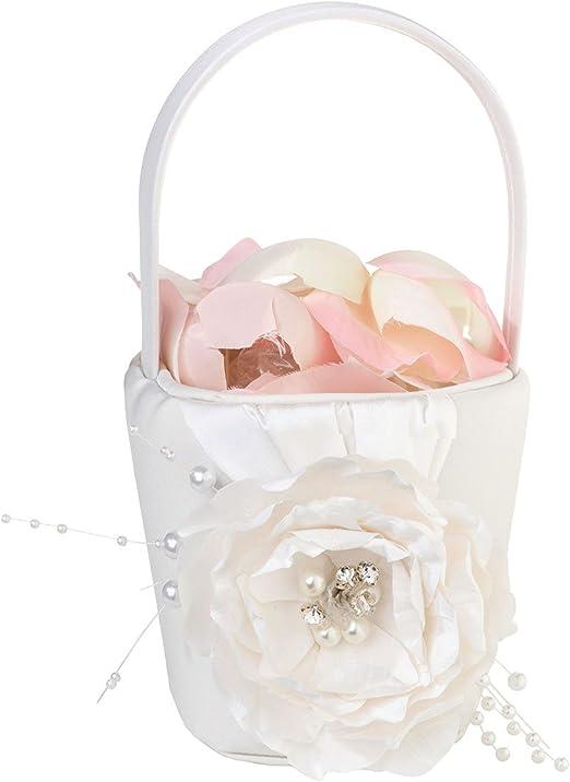 Lillian Rose Vintage Lace Wedding Flower Girl Basket Cream