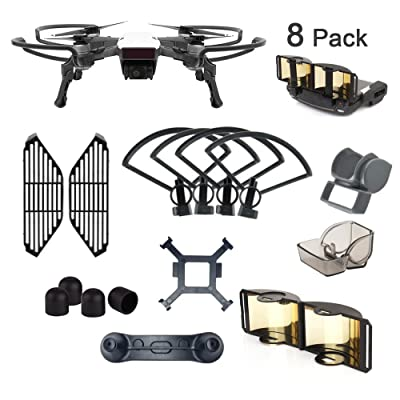 AsiaToy 8 Pack Combo Compatible with Spark Propeller Gimbal Camera Finger Joystick Motor Guard and Lens Hood: Toys & Games