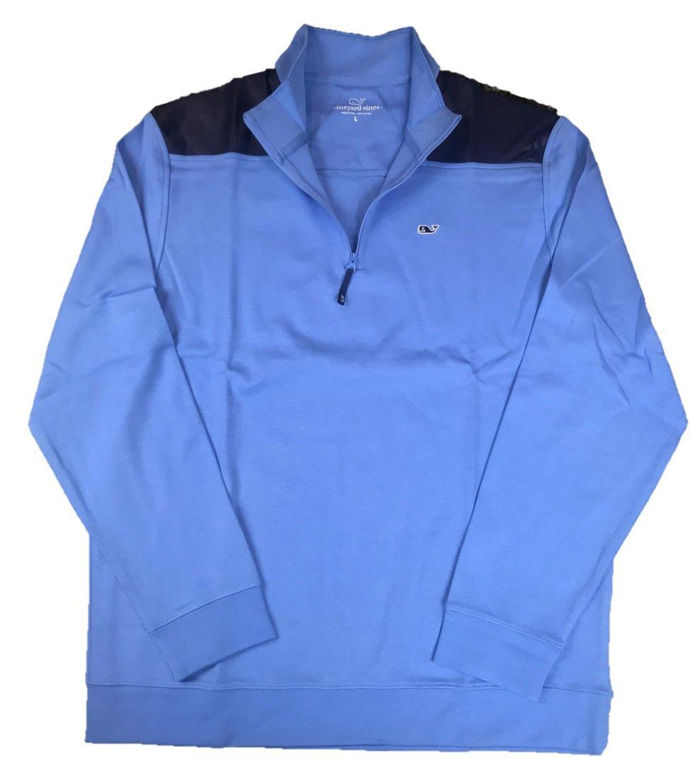 Vineyard Vines Men's Jersey 1/4 Zip Pullover Shirts (Blue Nylon Shoulder, Large)