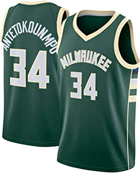 YIXUAN Hombre los de Camiseta Jersey Milwaukee Bucks #34 Giannis Antetokounmpo Swingman Camiseta de Baloncesto