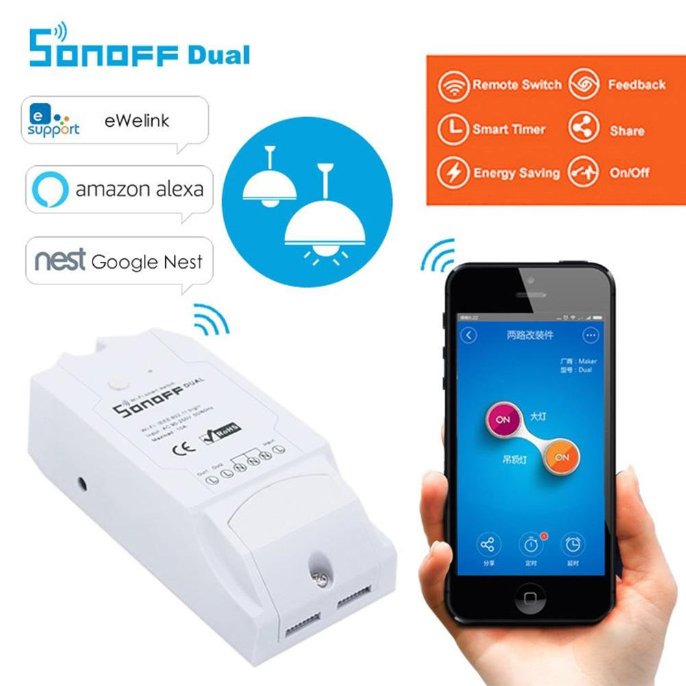 commutateur /électrique /à t/él/écommande sans Fil avec Le Double//Simple Canal pour Le Module dautomatisation connect/é /à la Maison Enjoyall Contr/ôle du commutateur WiFi