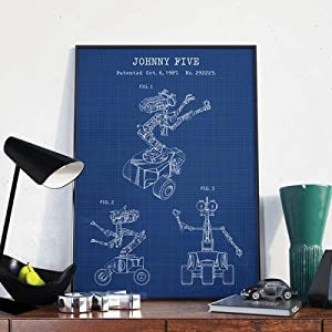 zuomo Short Circuit Movie Johnny 5 Vintage Poster Prints Robot Blueprint Sci Fi Wall Art Canvas Painting Pictures Home Decor 40X50cm/16x20inch No Frame