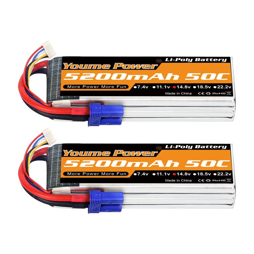 2 Baterias Lipo Youme 4s 5200mAh 14.8v 50C EC5 Conector para