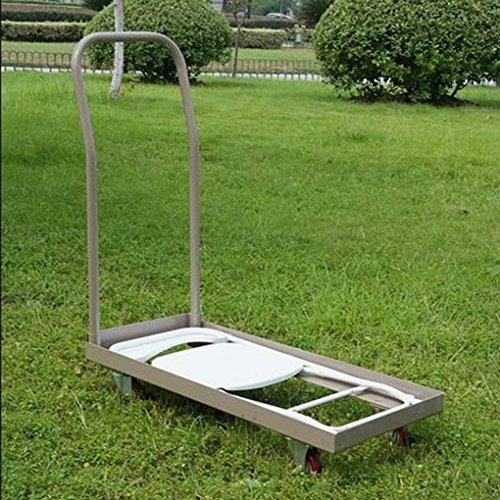 Tan Folding Chair Cart Rolling Push Dolly, Commercial Grade Steel Frame, Storage Capacity 50 Chairs